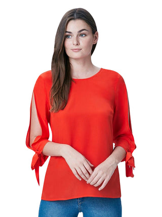 Button Back Blouse- Red Hot