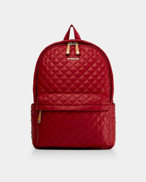 Quilted Metro Backpack- Carmine