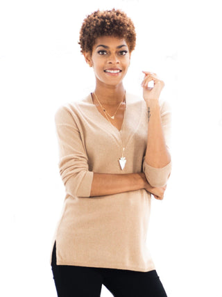 camel tan cashmere v neck sweater