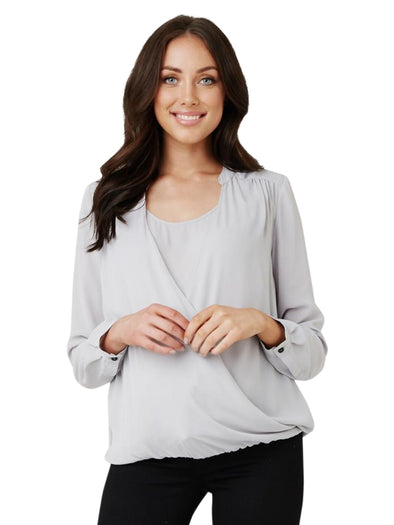 light grey maternity nursing blouse