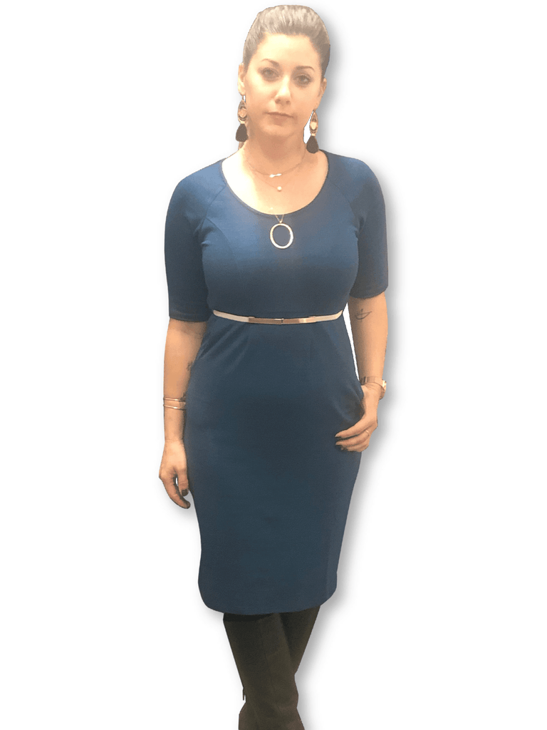 Blue scoop neck maternity dress with pockets