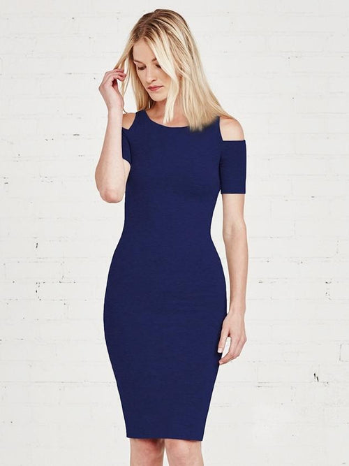 Deneuve Cold Shoulder Dress-Navy