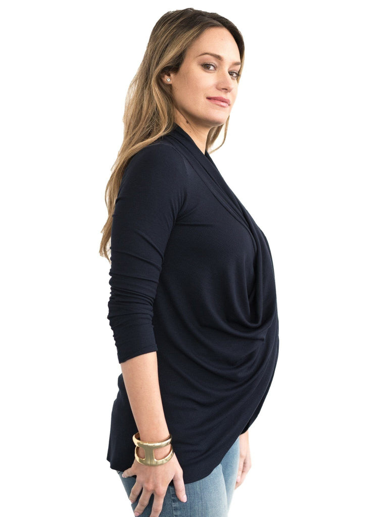 navy nursing maternity long sleeve top