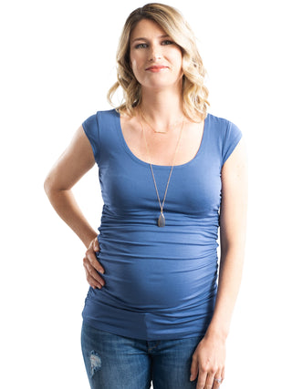 blue cap sleeve nursing maternity top