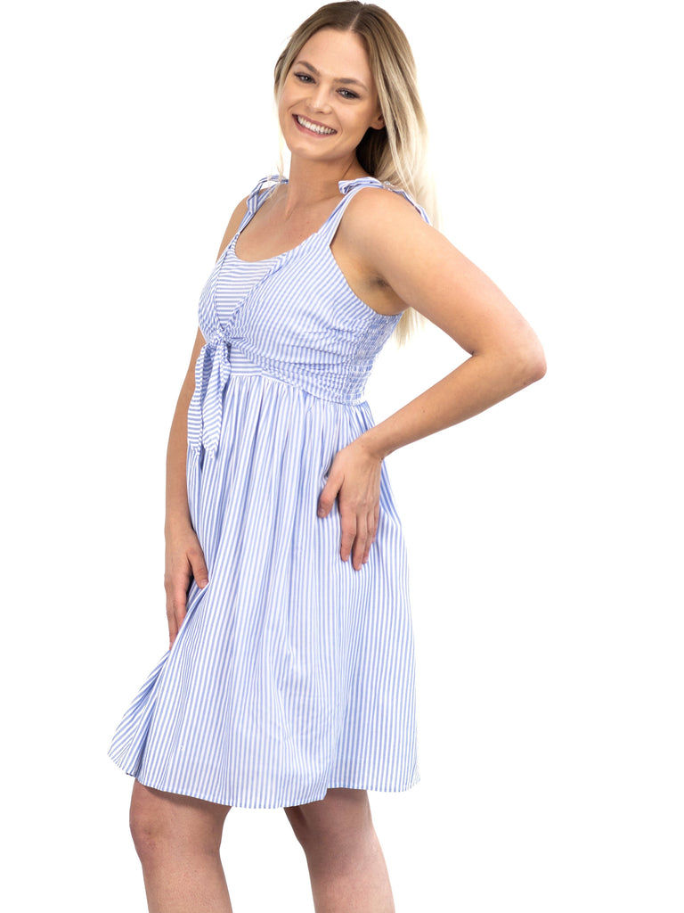 striped summer maternity nursing dress