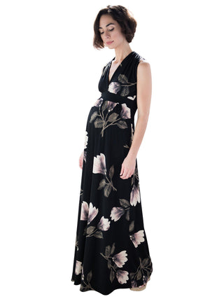 black pink floral maternity maxi dress