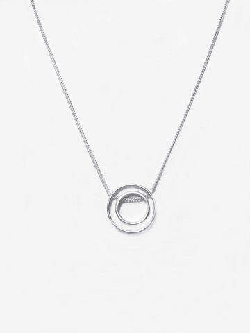 Double Ring Necklace- Silver