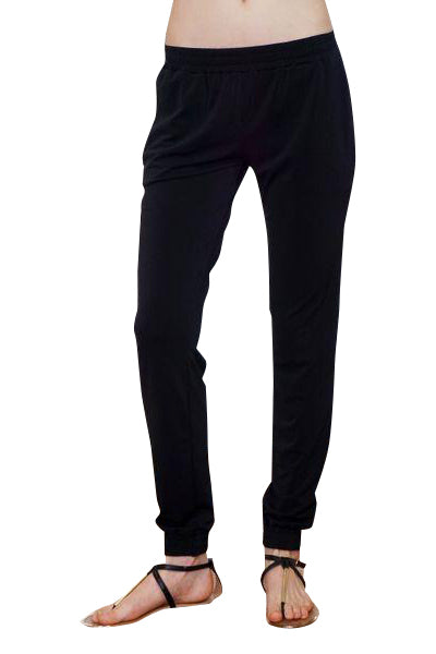 black dressed maternity jogger pant