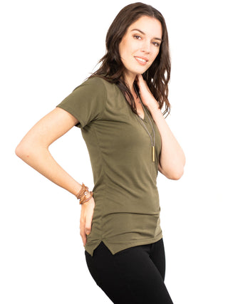 Drew Double V Nursing Friendly Top- Military