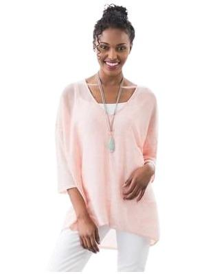 coral pink linen maternity sweater