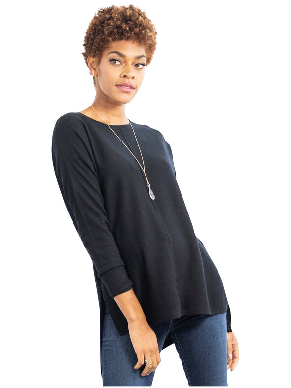 black hi low maternity sweater