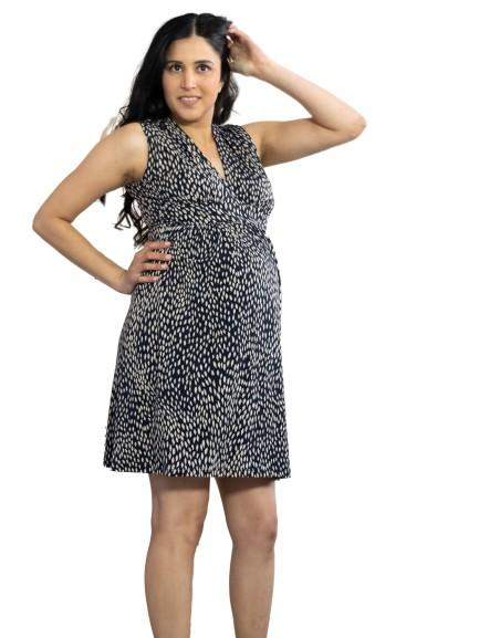 slimming black  and white print maternity dress