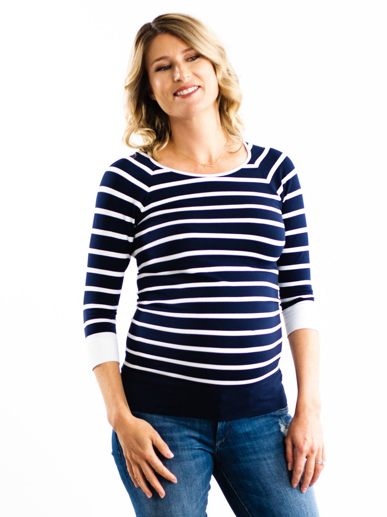 blue and white maternity nursing top