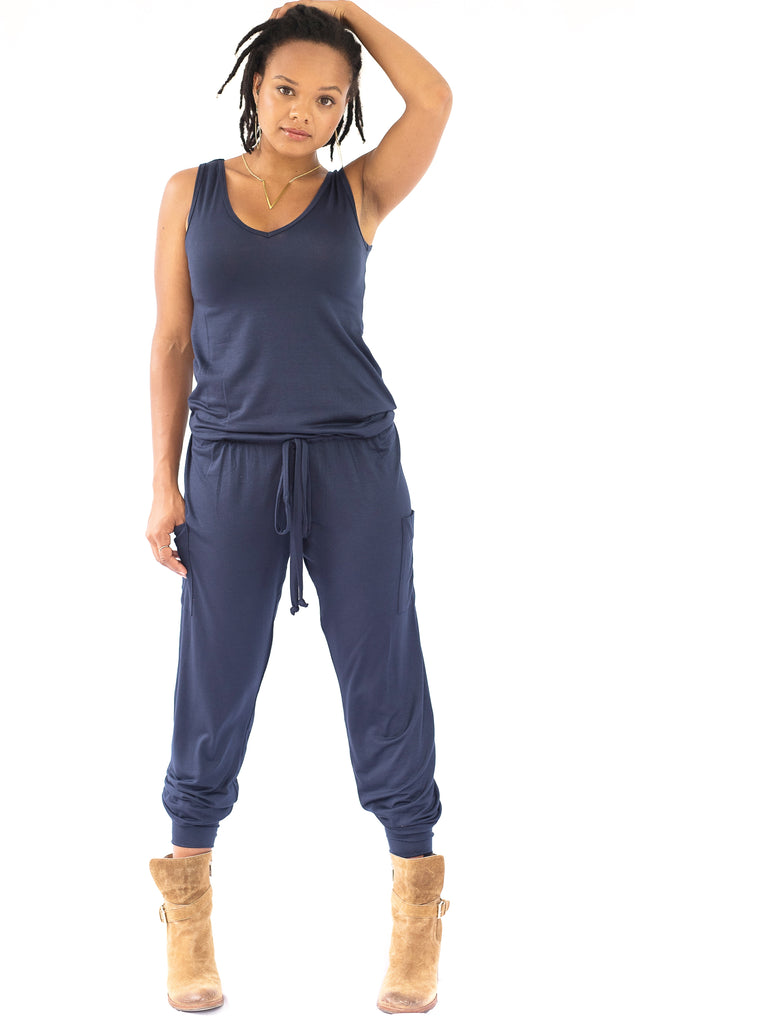 Hudson Jumpsuit by alex & harry in ink blue , maternity jumpsuit for pregnancy that's nt actually a maternity jumpsuit.