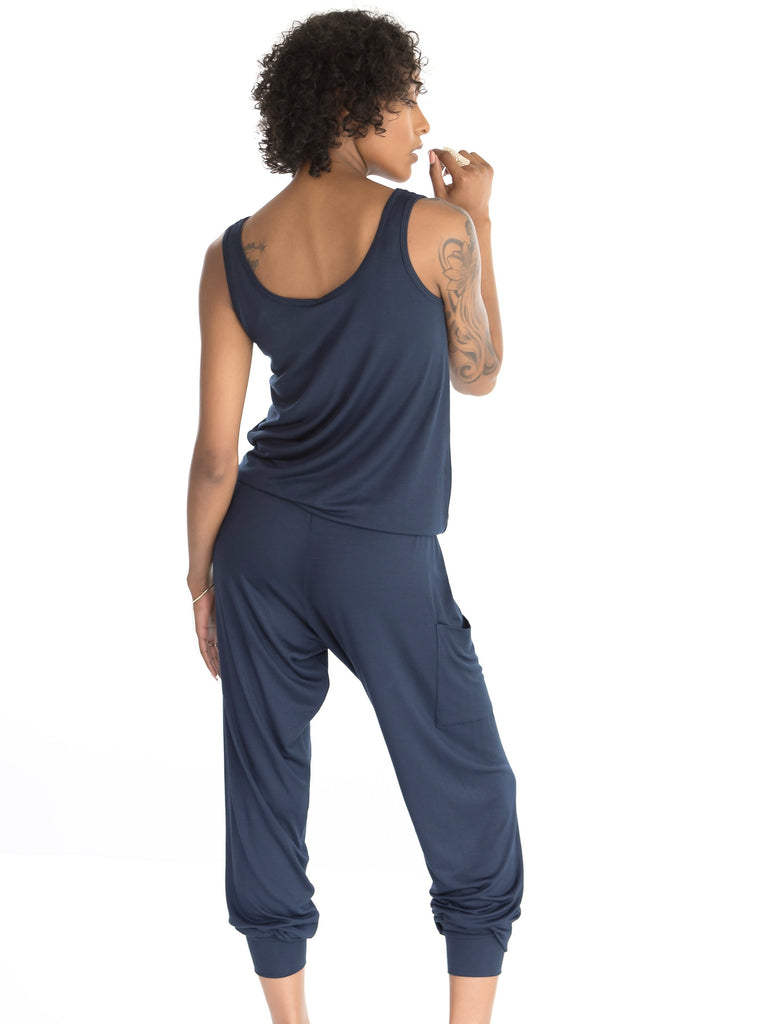 Hudson Jumpsuit by alex & harry in ink blue , maternity jumpsuit for pregnancy that's not actually a maternity jumpsuit.