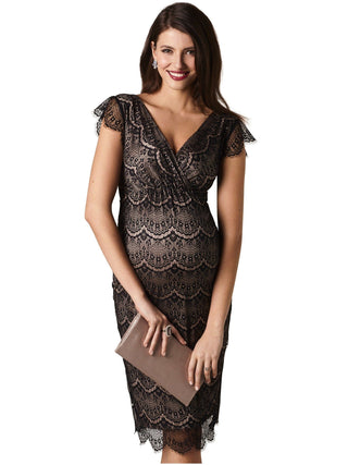 black lace maternity nursing dress