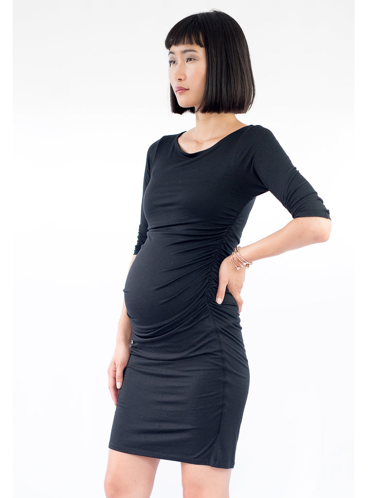 black fitted maternity dress