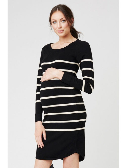 black ivory stripe maternity sweater dress
