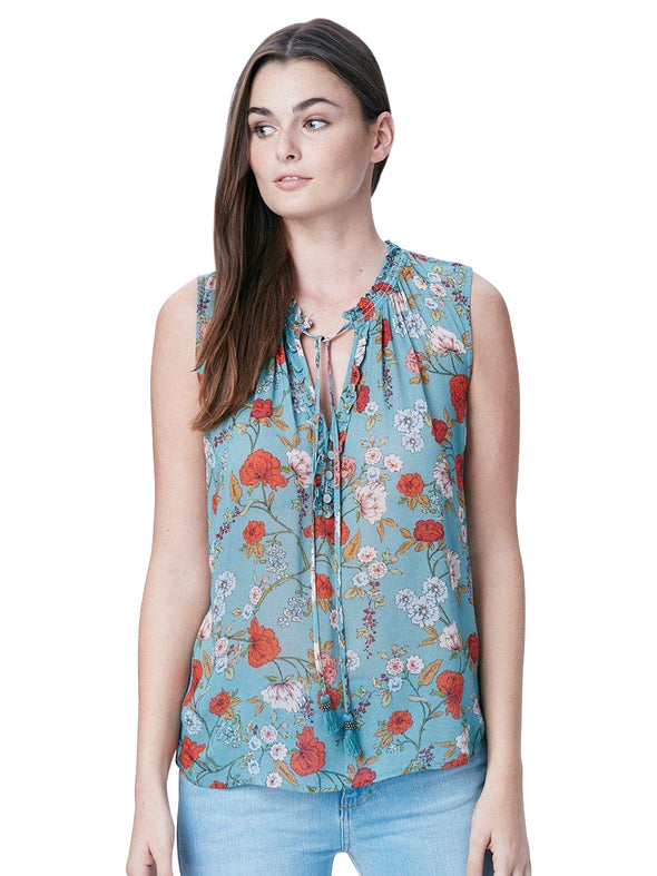 teal floral sleeveless maternity blouse