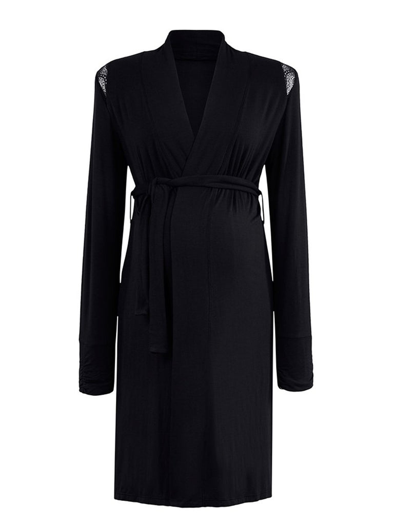 Lace Detail Robe- Black