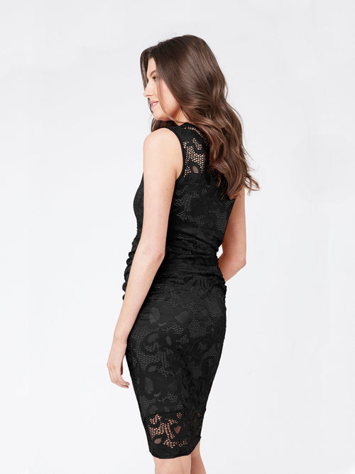 black lace sleeveless maternity dress