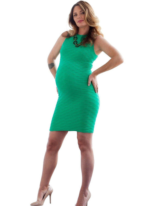 high neck green maternity dress