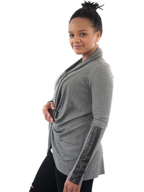charcoal nursing maternity long sleeve top