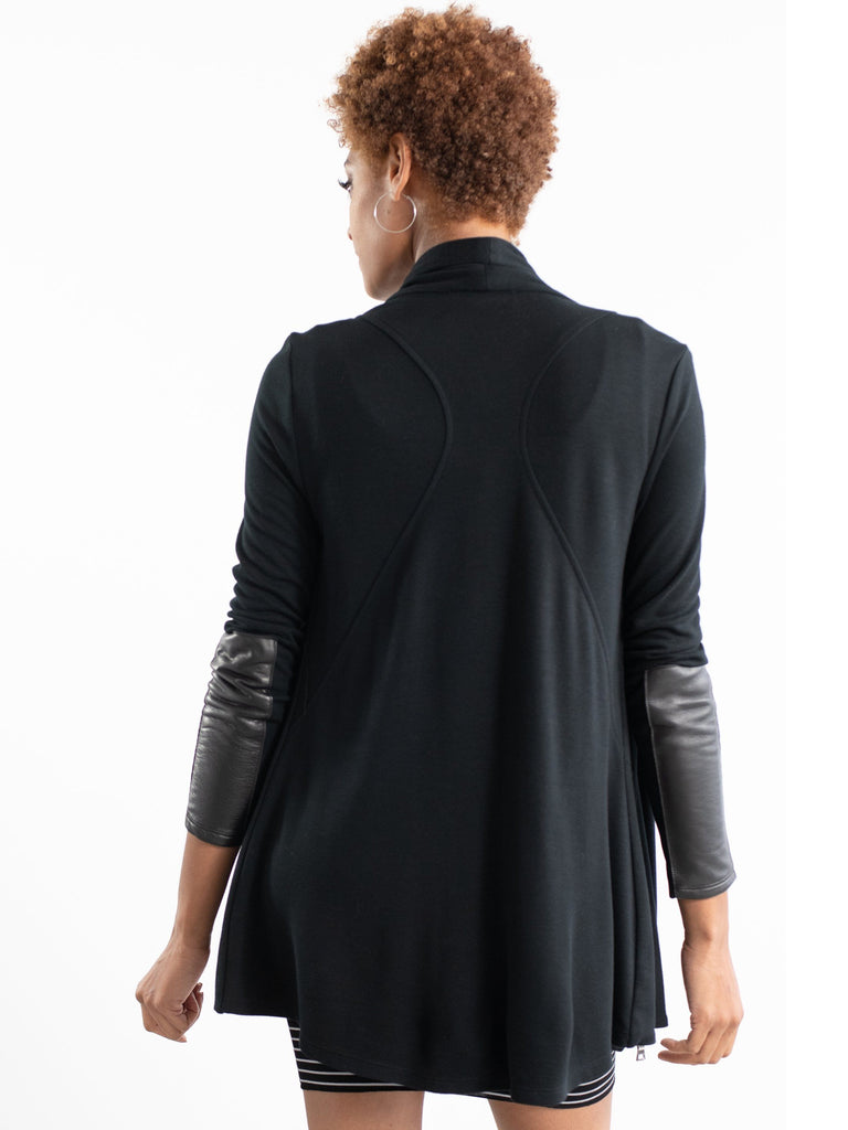 black drape maternity jacket with leather patch