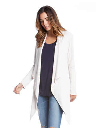 cream leather patch maternity jacket