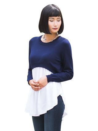 London Nursing Top- Navy/Cream