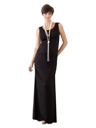 black cinched maternity maxi dress