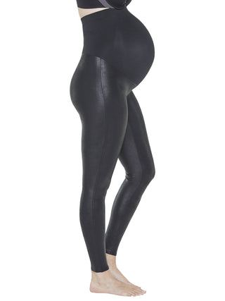 black faux leather maternity leggings