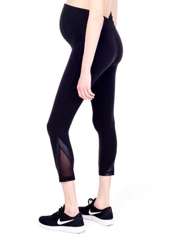 black capri maternity legging