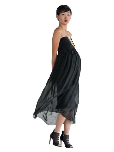 black maternity maxi dress skirt