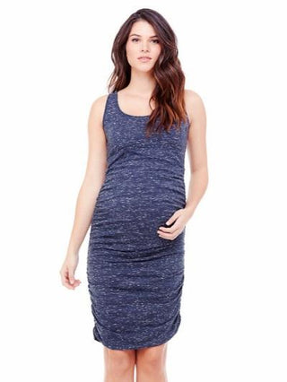 blue ruched maternity tank dress