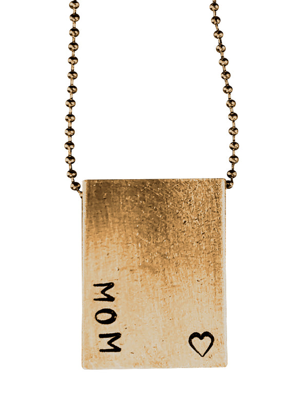 MOM Rectangle Pendant- Brass