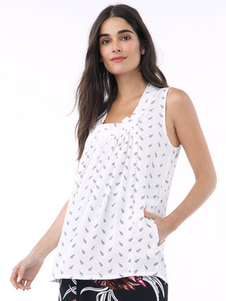 white sleeveless maternity nursing blouse
