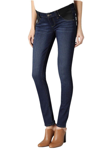 mid wash maternity skinny denim jean