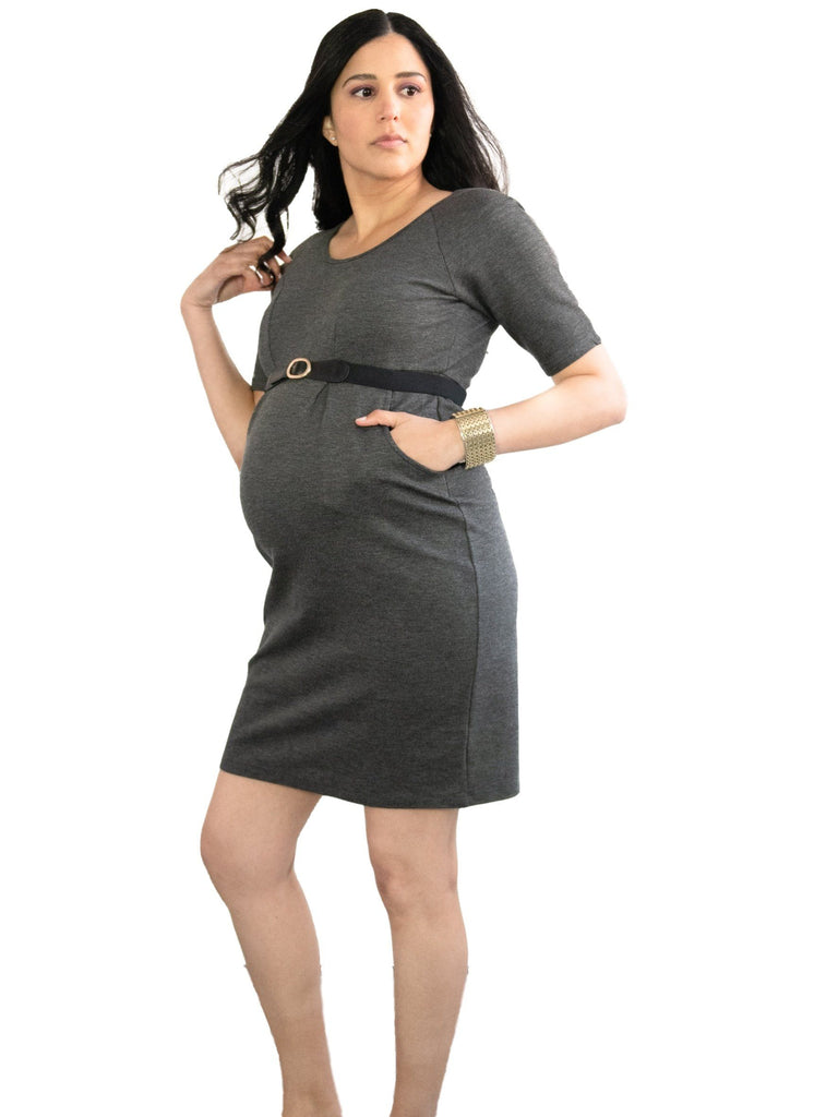 Grey flannel maternity dress for professional pregnant women