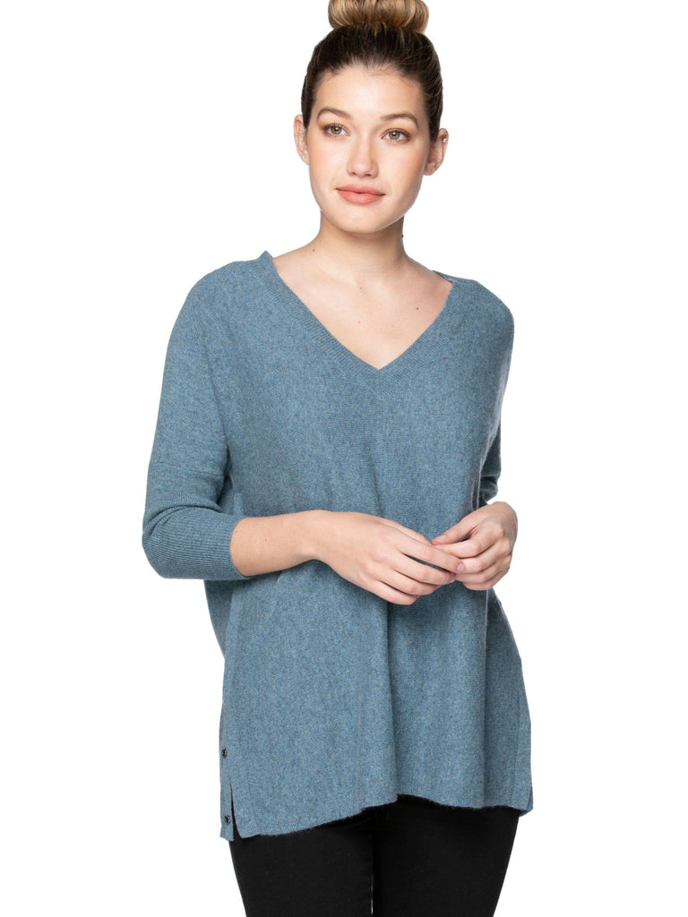 Cashmere Side Snap Top Tops MOM fave Coastal Mist S/M