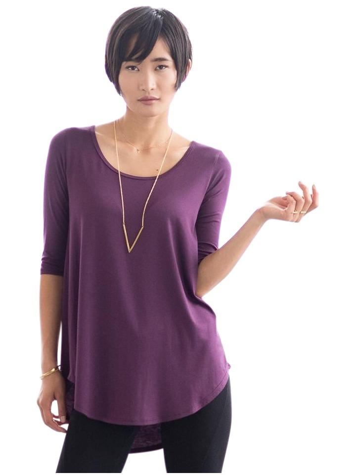 purple loose maternity scoop neck shirt