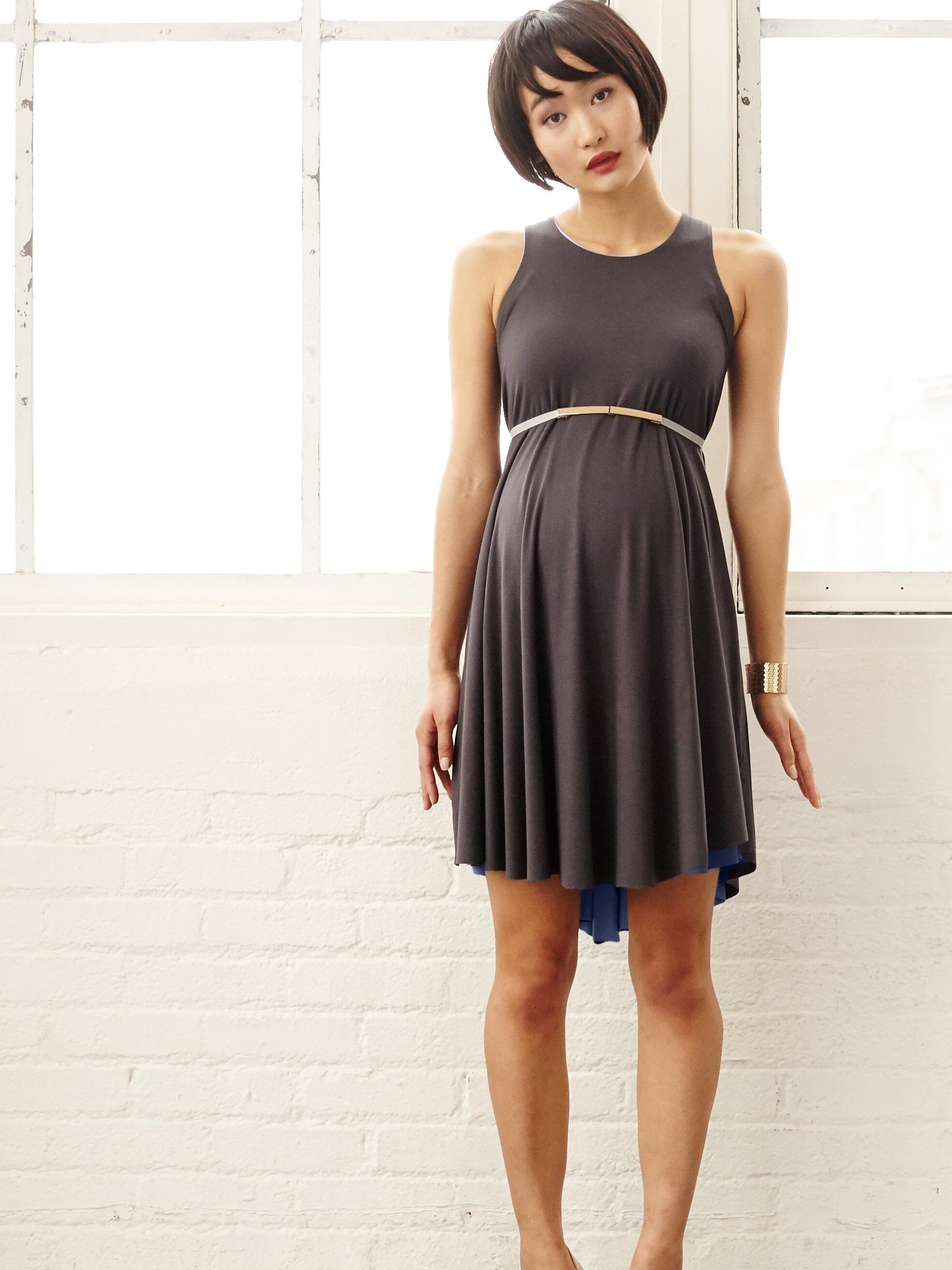 grey navy reversible maternity swing dress