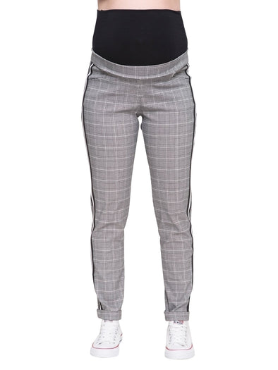 plaid over the belly maternity pant