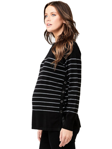 Soho Side Snap Sweater - Nursing Tops Ripe XS Black/Grey