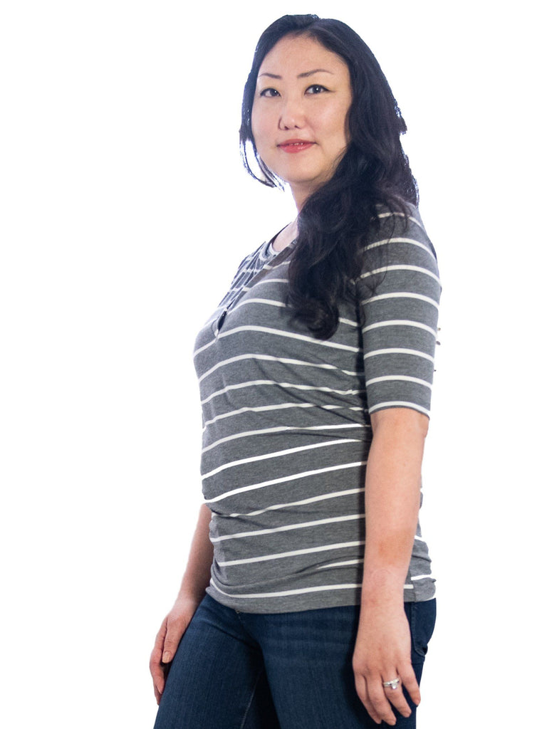 Oh Snap! Easy Nursing Top Tops Mom's the Word Vintage Grey/Ivory L