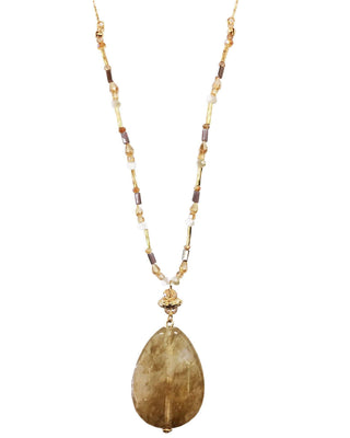 Stone Pendant with Detailed Chain- Marble