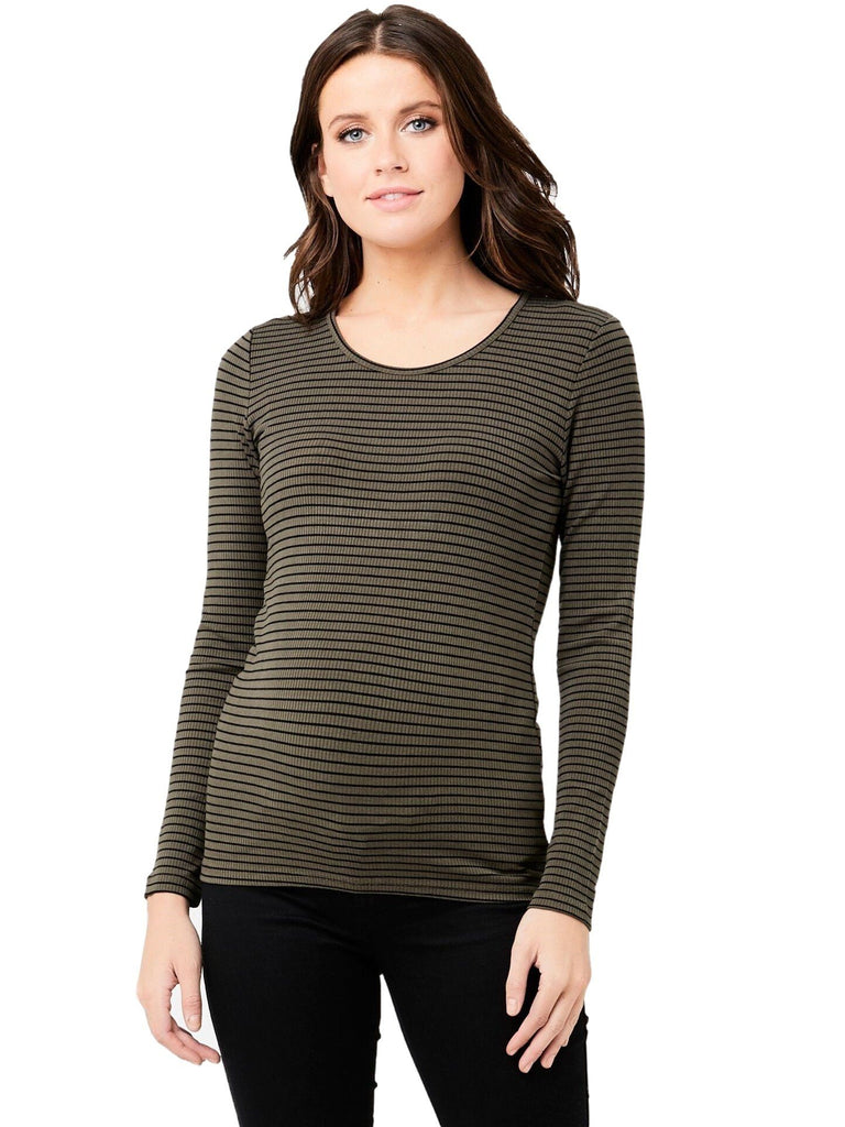 Soft Stretchy Stripe Tee Tops Mom's the Word Olive/Blk XS