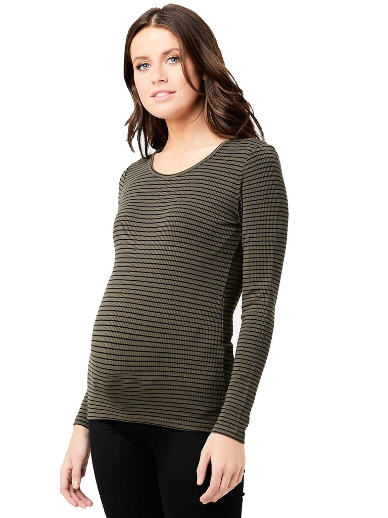 Soft Stretchy Stripe Tee Tops Mom's the Word