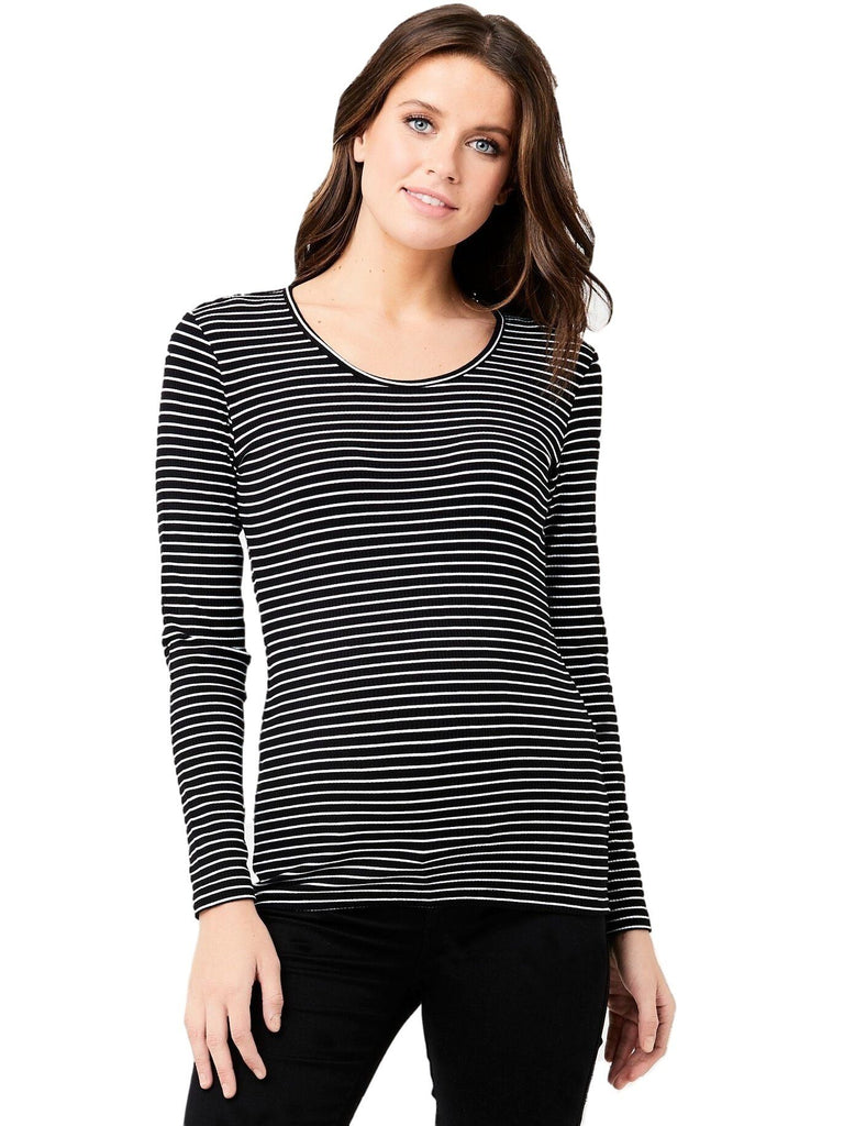 Soft Stretchy Stripe Tee Tops Mom's the Word Blk/Wht XS