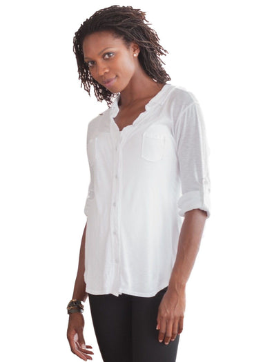 white maternity button up